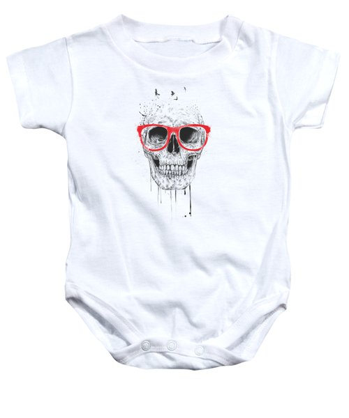 Skull With Red Glasses Baby Onesie