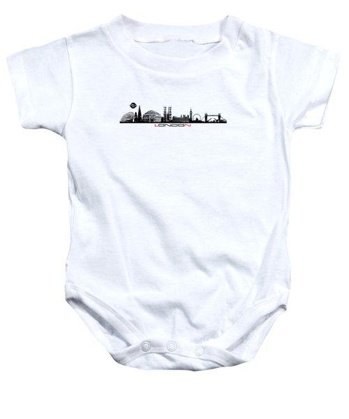 skyline city London black Baby Onesie by Justyna JBJart