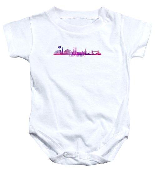 skyline city London purple Baby Onesie by Justyna JBJart