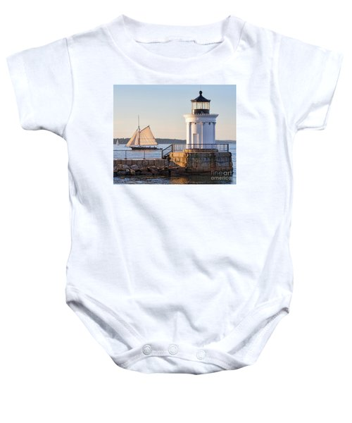 Sloop And Lighthouse, South Portland, Maine  -56170 Baby Onesie