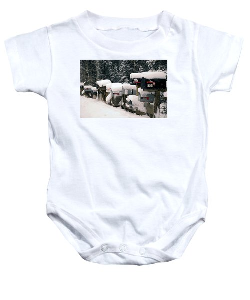 Snow Covered Mailboxes Baby Onesie