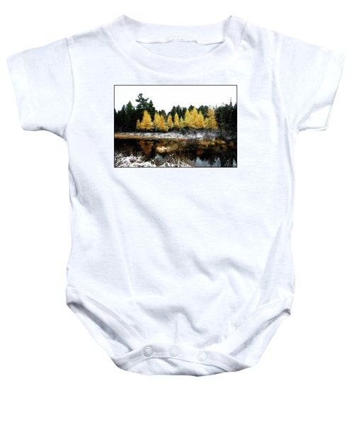 Snow Paints Larch Grove Baby Onesie