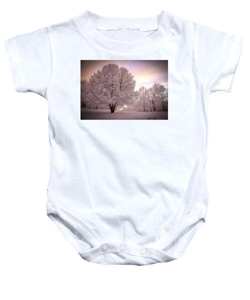 Snow Tree At Dusk Baby Onesie