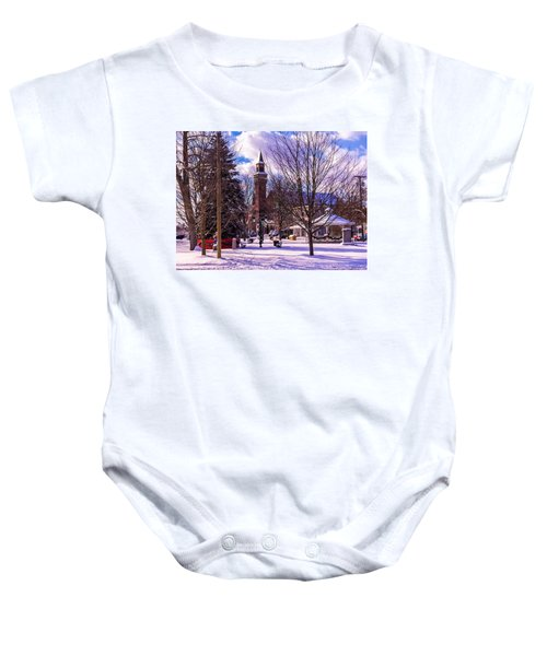 Snowy Old Town Hall Baby Onesie