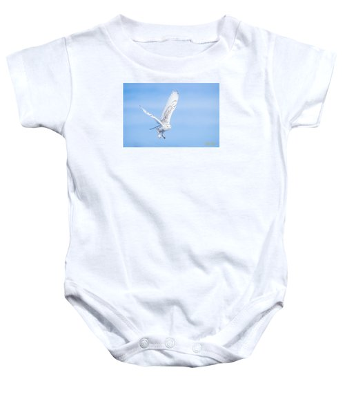 Baby Onesie featuring the photograph Snowy Owls Soaring by Rikk Flohr