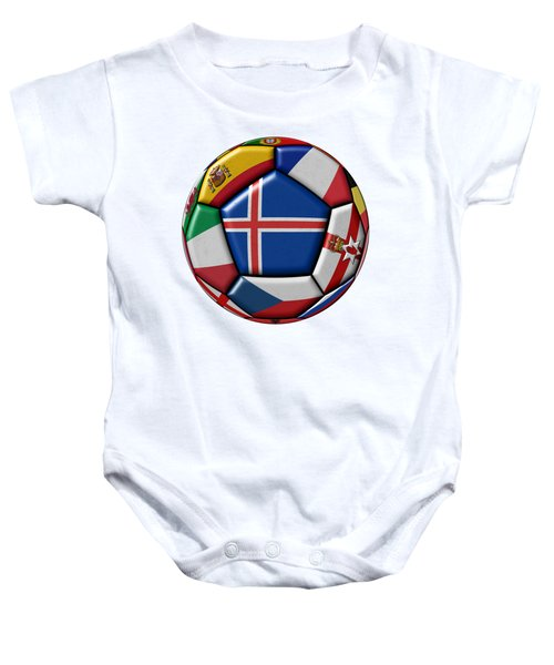 Soccer Ball With Flag Of Iceland In The Center Baby Onesie