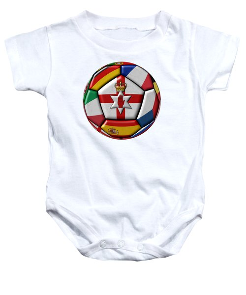 Soccer Ball With Flag Of Northern Ireland In The Center Baby Onesie