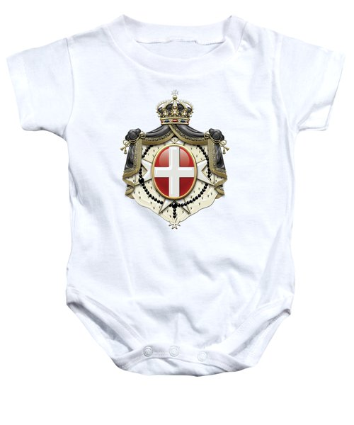 Sovereign Military Order Of Malta Coat Of Arms Over White Leather Baby Onesie