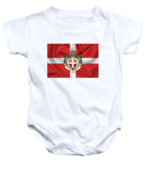 Sovereign Military Order Of Malta - S M O M Coat Of Arms Over Flag Baby Onesie