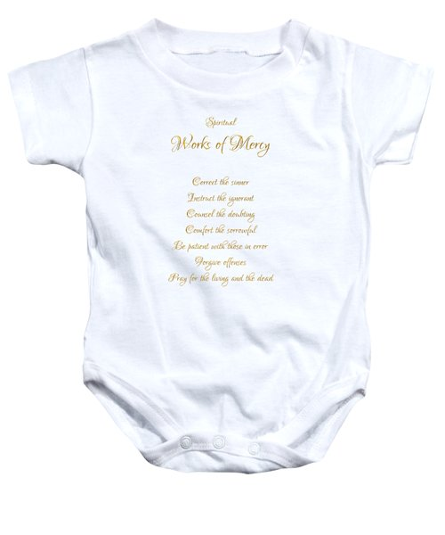 Spiritual Works Of Mercy White Background Baby Onesie