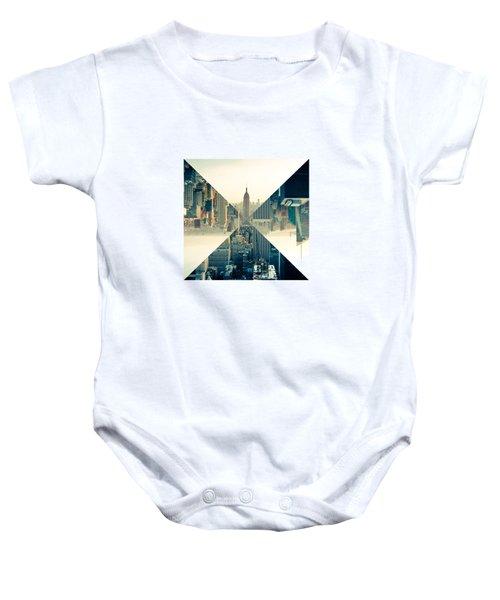 Split Skyline Ny Baby Onesie by Jamie Kingswood