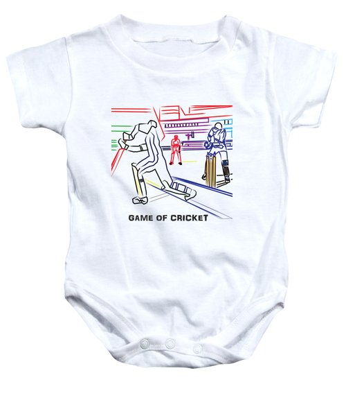 Sports Fan Cricket Played India England Pakistan Srilanka Southafrica Baby Onesie by Navin Joshi