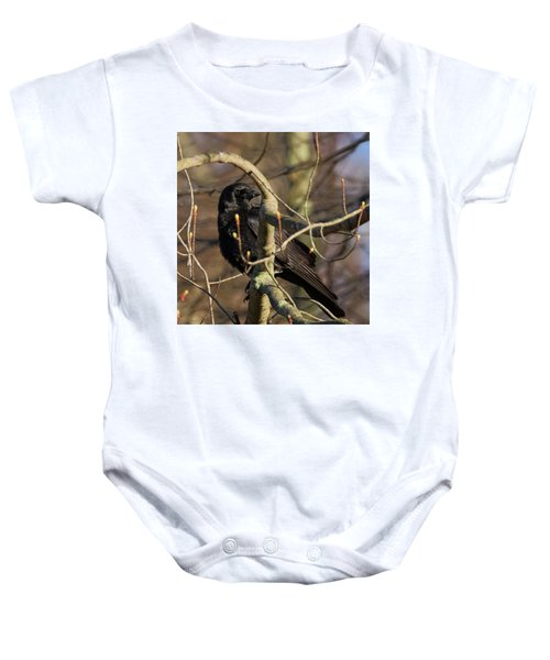Baby Onesie featuring the photograph Springtime Crow Square by Bill Wakeley