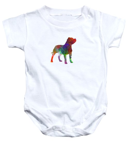 Staffordshire Bull Terrier In Watercolor Baby Onesie by Pablo Romero