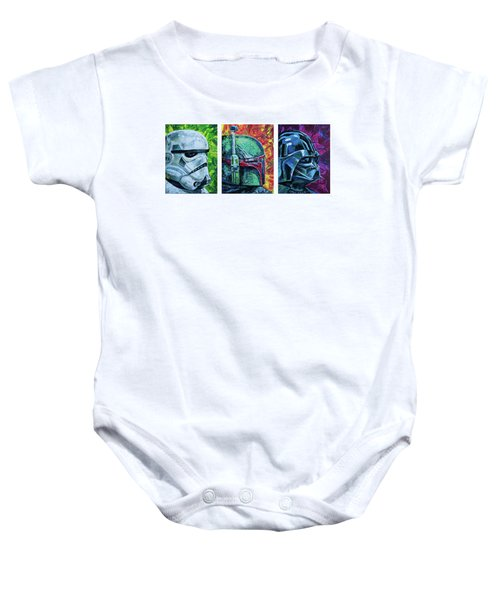 Baby Onesie featuring the painting Star Wars Helmet Series - Triptych by Aaron Spong