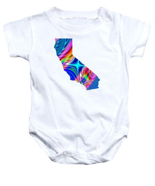 State Of California Map Rainbow Splash Fractal Baby Onesie