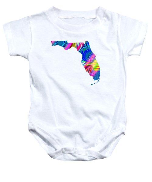 State Of Florida Map Rainbow Splash Fractal Baby Onesie