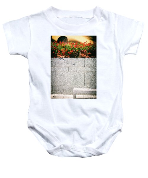 Baby Onesie featuring the photograph Stone Bench With Flowers by Silvia Ganora
