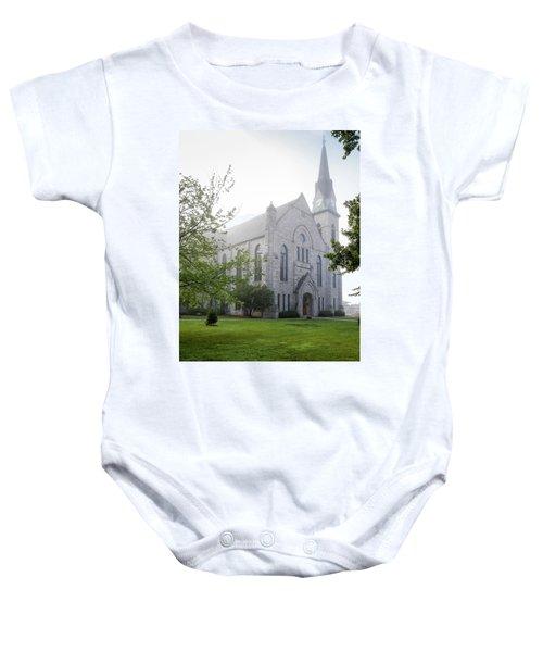 Stone Chapel In Fog Baby Onesie