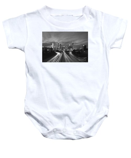 Streaking To And From Atlanta Night Lights Sunset 2 Baby Onesie
