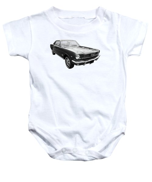 Stunning 1966 Mustang In Black And White Baby Onesie