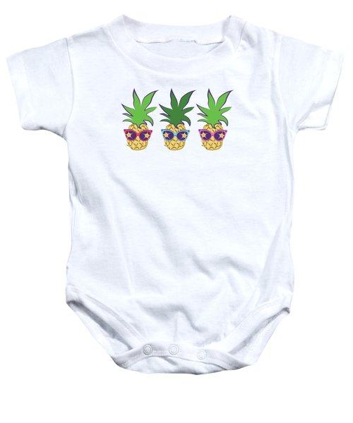 Summer Pineapples Wearing Retro Sunglasses Baby Onesie