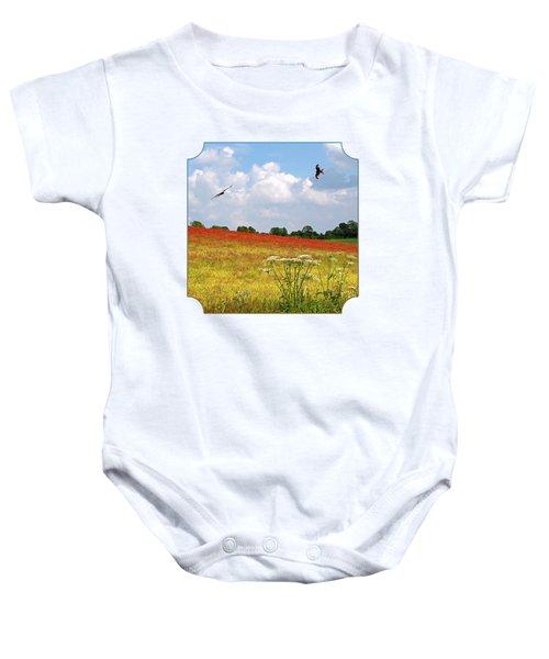 Summer Spectacular - Red Kites Over Poppy Fields - Square Baby Onesie