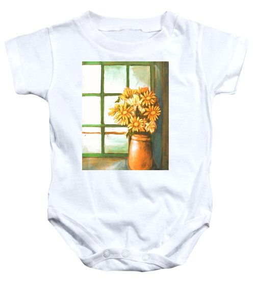 Baby Onesie featuring the painting Sunflowers In Window by Winsome Gunning