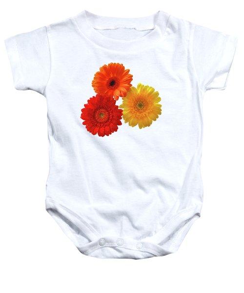 Sunny Gerbera On White Baby Onesie