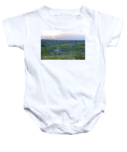 Sunset Over A 2000 Years Old Village Baby Onesie by Dubi Roman