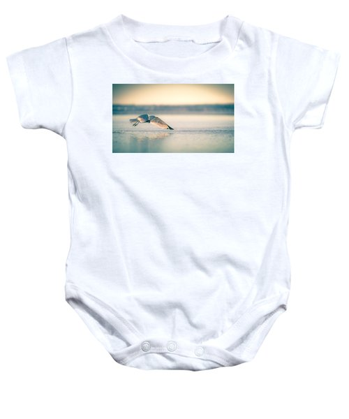 Sunset Seagull Takeoffs Baby Onesie