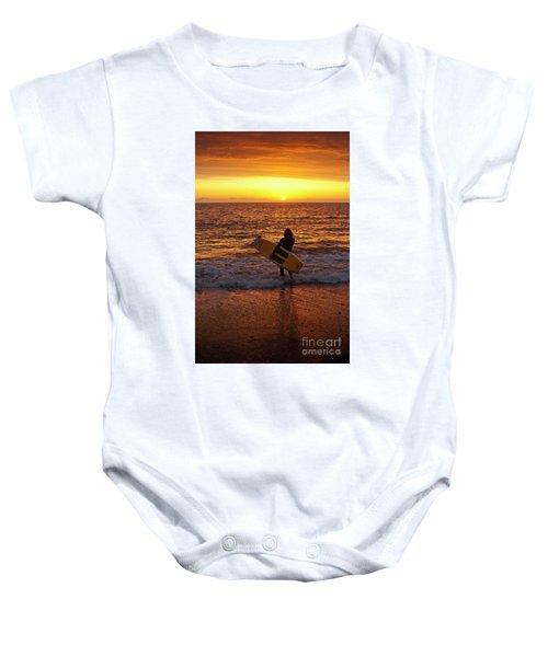 Sunset Surfer On Aberystwyth Beach Wales Uk Baby Onesie