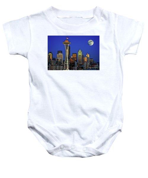 Super Moon Over Seattle Baby Onesie