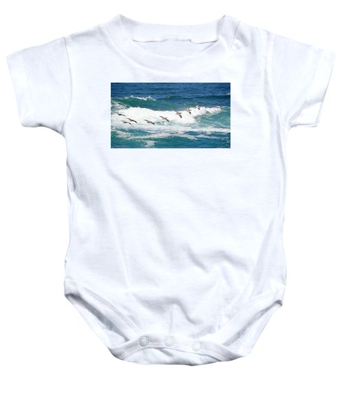 Surf And Pelicans Baby Onesie