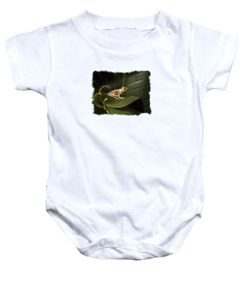 Surfing The Wave Bordered Baby Onesie by Debra and Dave Vanderlaan