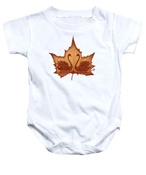 Swans Love On Maple Leaf Original Coffee Painting Baby Onesie by Georgeta Blanaru