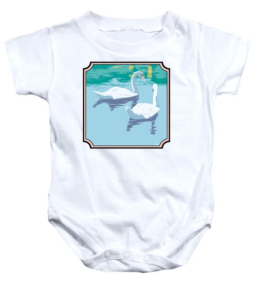 Swans On The Lake And Reflections Absract - Square Format Baby Onesie