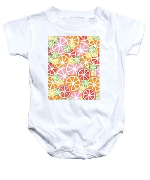 Sweet And Sour Citrus Print Baby Onesie by Lauren Amelia Hughes