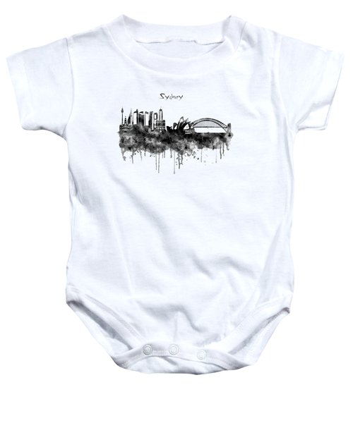 Sydney Black And White Watercolor Skyline Baby Onesie by Marian Voicu