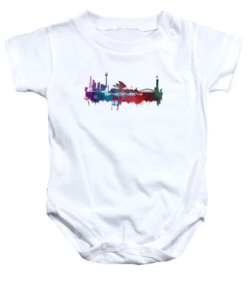 Sydney Skyline City Blue Baby Onesie by Justyna JBJart