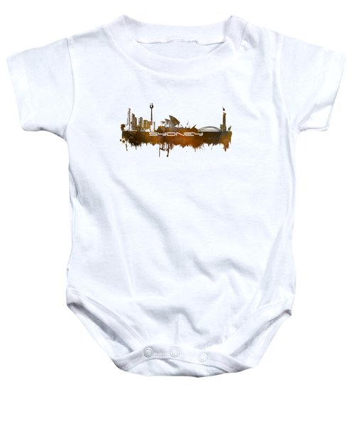 Sydney Skyline City Brown Baby Onesie by Justyna JBJart