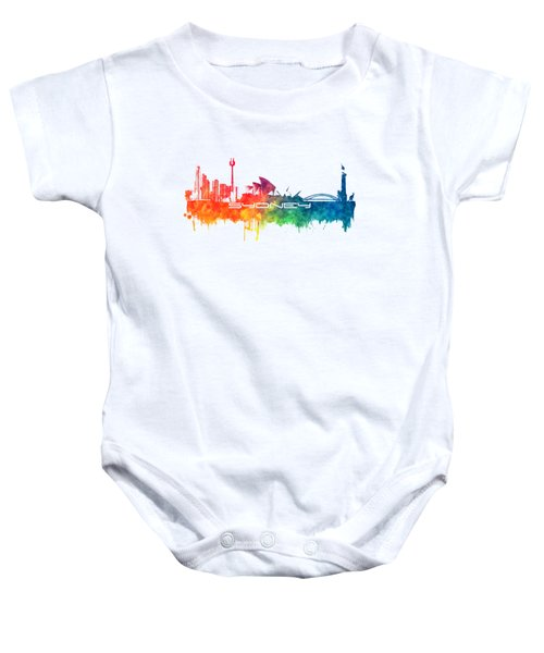Sydney Skyline City Color Baby Onesie by Justyna JBJart
