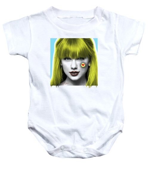 Taylor Swift, Pop Art, Portrait, Contemporary Art On Canvas, Famous Celebrities Baby Onesie by Dr Eight Love