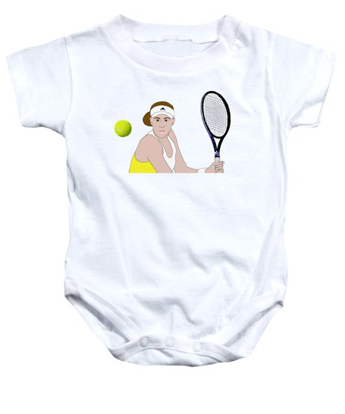 Tennis Ball Focus Baby Onesie by Priscilla Wolfe