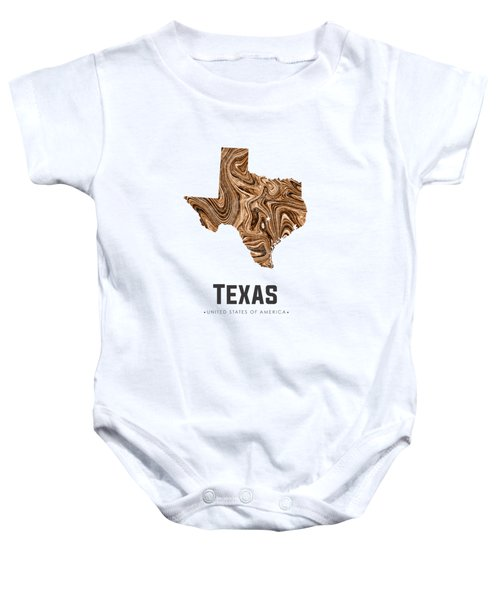 Texas Map Art Abstract In Brown Baby Onesie