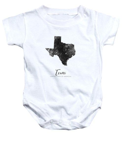 Texas State Map Art - Grunge Silhouette Baby Onesie