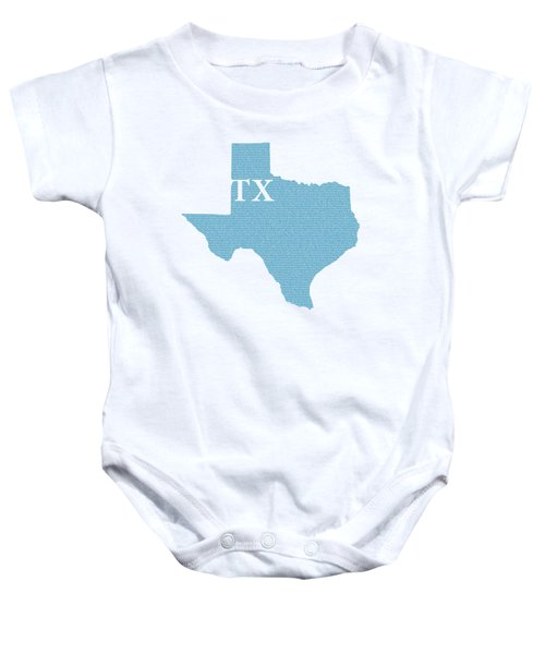 Texas State Map With Text Of Constitution Baby Onesie by Design Turnpike