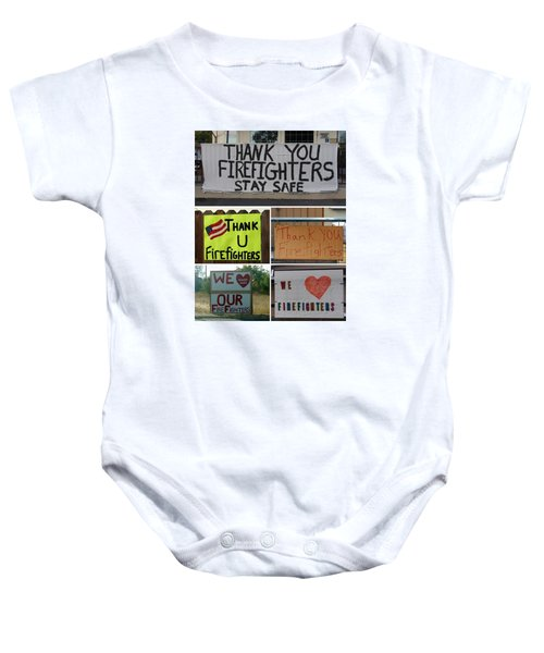 Thank You Firefighters Collage Baby Onesie