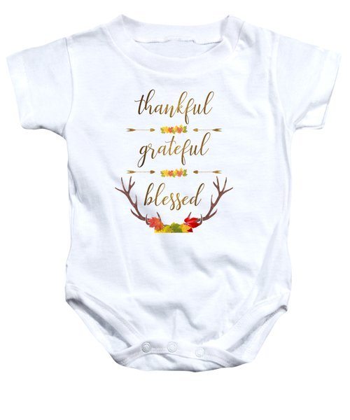 Thankful Grateful Blessed Fall Leaves Antlers Baby Onesie