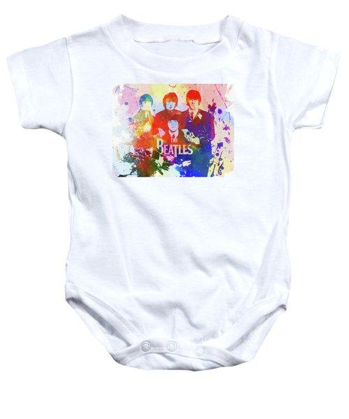 The Beatles Paint Splatter  Baby Onesie